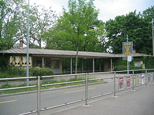 Binningen, Switzerland - Zoo Basels South entrance, North of Binningen