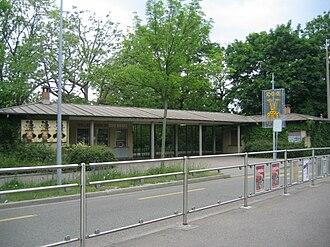 Binningen, Switzerland - Zoo Basels South entrance, North of Binningen