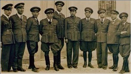"""The Saudi pilots training in Italy 1935""--a scene from 'Our Eagles', one of four video wall shows made for the Royal Saudi Air Force Museum. ""Our Eagles"" The first Saudi pilots training in Italy (1935).jpg"