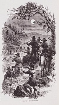 """""""Protecting The Settlers"""" Illustration by JR Browne for his work """"The Indians Of California"""" 1864.jpg"""