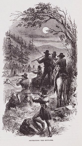 "California Genocide - Image: ""Protecting The Settlers"" Illustration by JR Browne for his work ""The Indians Of California"" 1864"
