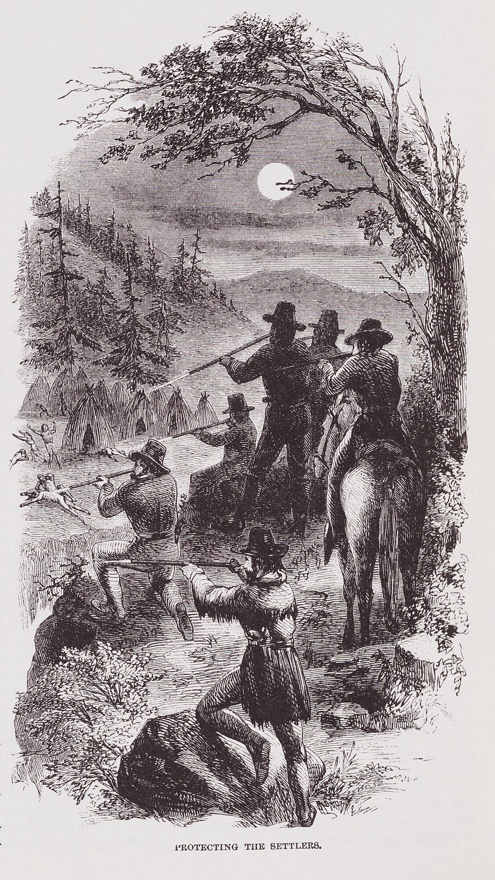 """Protecting The Settlers"" Illustration by JR Browne for his work ""The Indians Of California"" 1864"