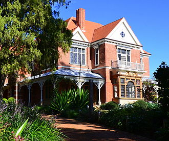 Federation architecture - Caerleon, located in Bellevue Hill, New South Wales, was the first Queen Anne-style home in Australia. It is listed on the Register of the National Estate.