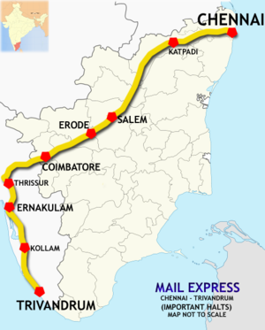 (Chennai - Trivandrum) Mail Express route map