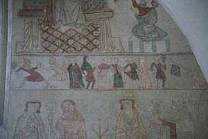 Medieval dance - Fresco at Ørslev church, Denmark