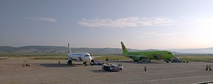 Baikal International Airport - The Boeing 767 of S7 Airlines and Airbus A320 of Ural Airlines.