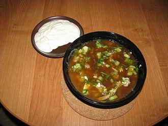 Kvass - Okroshka, prepared with kvass