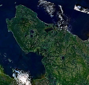 Onega Peninsula - The Onega Peninsula as seen from space