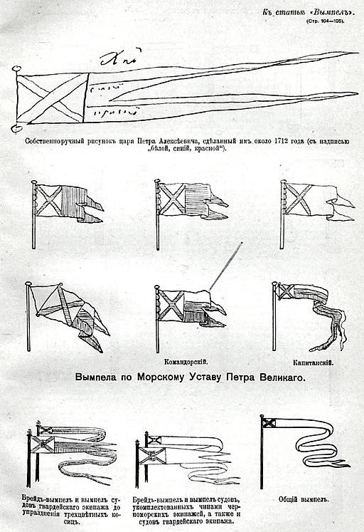 Рисунки к статье «Вымпел». Военная энциклопедия Сытина (Санкт-Петербург, 1911-1915)