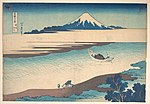 冨嶽三十六景 武州玉川-Fuji—The Tama River, Musashi Province, from the series Thirty-six Views of Mount Fuji (Fugaku sanjūrokkei) MET DP140975.jpg