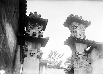 Ancestral shrine - Eastern Han (25-220 AD) Chinese stone-carved que pillar gates of Dingfang, Zhong County, Chongqing that once belonged to a temple dedicated to the Warring States era general Ba Manzi