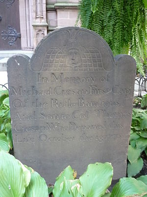 Michael Cresap - Michael Cresap's gravestone at Trinity Church Cemetery, New York City.