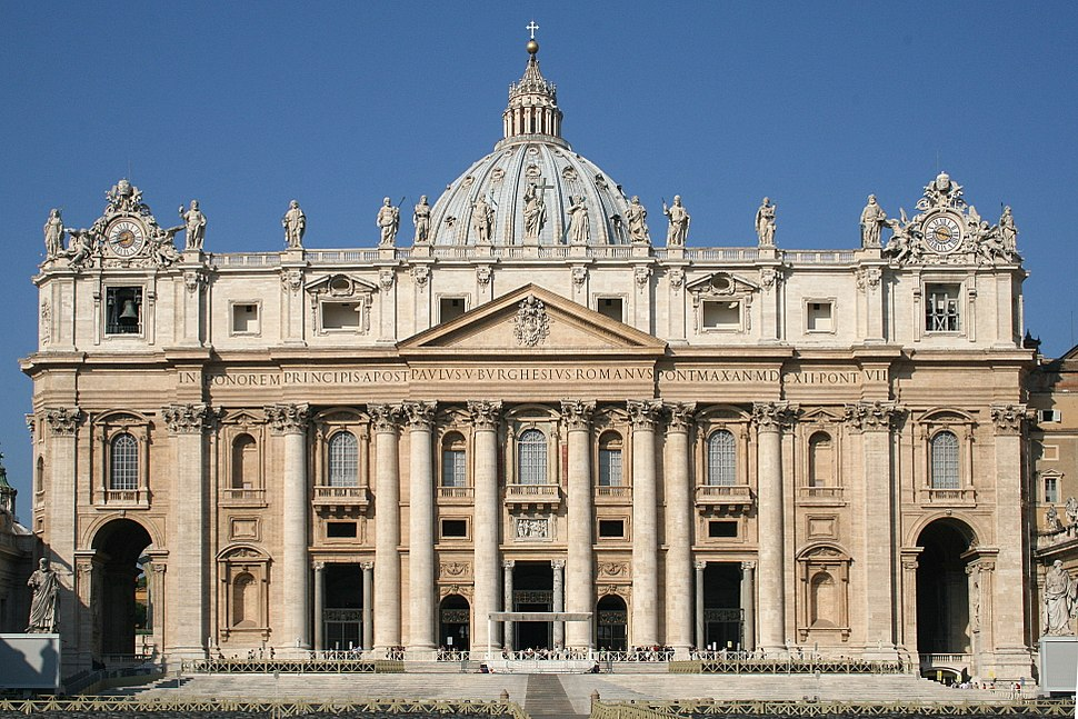Façade of St Peter's Basilica in Vatican City
