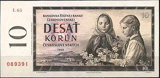 Banknotes of the Czechoslovak koruna (1953) - Image: 10 крон ЧССР