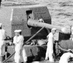 Type 3 120 mm 45 caliber naval gun - Image: 120 mm bow gun on IJN Yunagi 1936