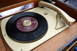 Single (music) - 45 rpm single on a turntable, waiting to be played