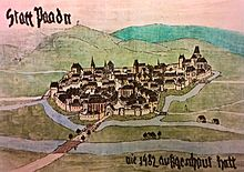 Contemporary illustration of Baden from the year 1482