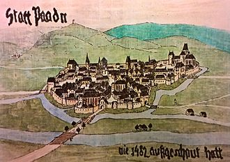 Baden bei Wien - Contemporary illustration of Baden from 1482
