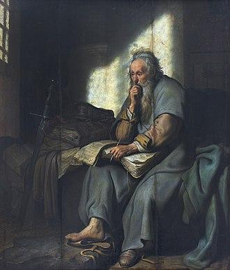 Rembrandt catalog raisonné, 1908 - Image: 1627 Rembrandt Paulus im Gefängnis Staatsgalerie Stuttgart anagoria