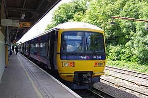 South East England - Redhill with the diesel Class 166 service run by First Great Western to Reading as the line has not got the Third rail electrification fully installed on the North Downs Line.