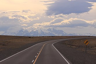 National Route 40 (Argentina) - The Cordillera Paine in Chile seen from Argentina's National RN40 in south of Santa Cruz province