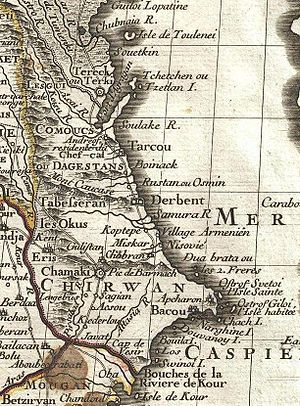 Baku Archipelago - A section of the Western coast of the Caspian in a 1724 French map with the Baku Archipelago in the southern part.