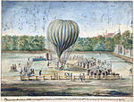 1785, Ascension of air-balloon at Noordeinde Palace, The Hague.jpg