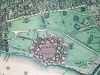 Fort William, India - Plan (top-view) of Fort William, c. 1844