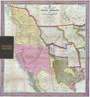 Alta California Territory - 1846 map: Mexican Alta California (Upper California) in pink.