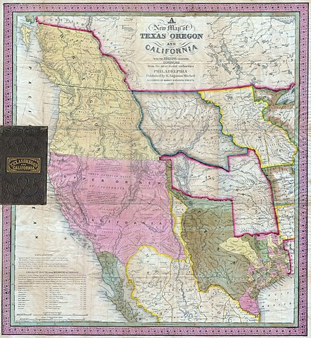 1846 map: Mexican Alta California (Upper California) in pink. 1846 Mitchell's Map of Texas Oregon and California - Geographicus - TXORCA-mitchell-1846.jpg