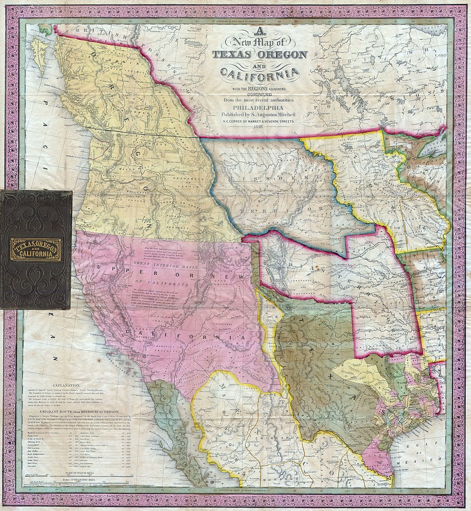 1846 Mitchell27s Map of Texas Oregon and