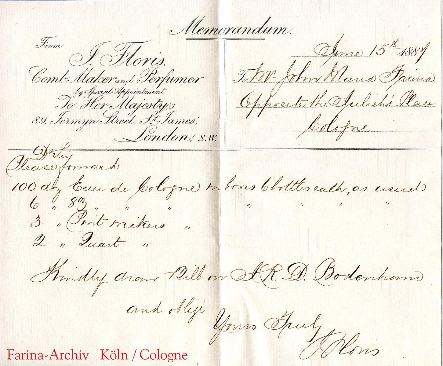 Fig. 2: Order from London perfumer Floris to Johann Maria Farina, Cologne, 1887. Image courtesy of Farina Archive and WikiMedia Commons.