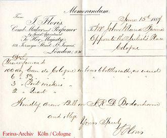 Floris of London - Image: 1887 06 15 Floris London Memorandum