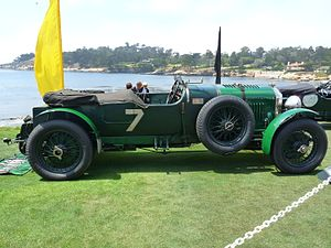 British racing green - 1928 Bentley 4½ Litre. The lighter colour is painted metalwork, the darker a fabric body