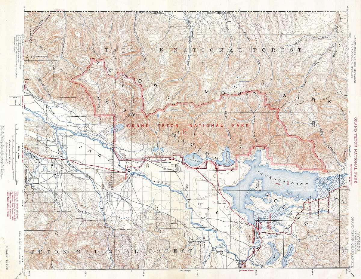 Picture of: File 1929 U S G S Map Of Grand Teton National Park Wyoming Geographicus Grandteton Usgs 1929 Jpg Wikimedia Commons