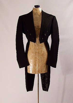 Tailcoat - A rare women's version of a tailcoat in black wool, from 1939.