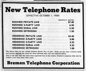 Party line (telephony) - 1959 rates for telephone lines in Indiana. Subscribers in town could choose a private line or a line shared by 2 or 4 parties. All rural lines were party lines shared with several neighbors.