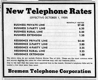 Party line (telephony) - 1959 rates for telephone lines in Indiana. Subscribers in town could choose an individual line or a line shared by two or four parties. All rural lines were party lines shared with several neighbors.