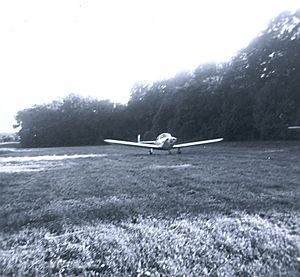 Suburban Airport - First customer – June 1960, An ERCO Ercoupe taxis to its tiedown at Suburban