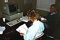 1988. Pat Skyler (left) and Jack Barry. Spray deposit assessment. Western spruce budworm control project. Umatilla National Forest. (36226081711).jpg