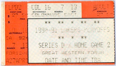 1991 NBA Finals - Game 4 - Chicago Bulls at Los Angeles Lakers 1991-06-09 (ticket)