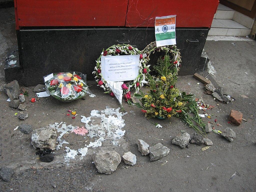 2008 Mumbai terror attacks flowers at spot of Karkare's death.jpg
