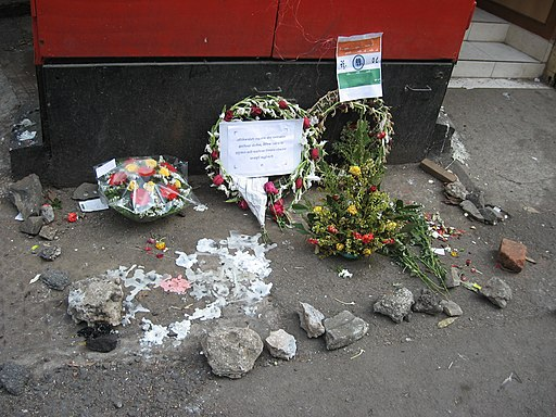 2008 Mumbai terror attacks flowers at spot of Karkare's death. Author: Nicholas (Nichalp)