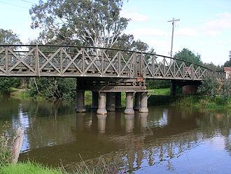 Latrobe River - The Sale Swing Bridge over the Latrobe River.