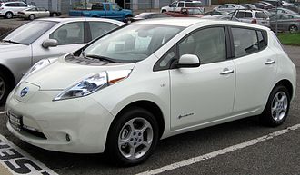 The Nissan Leaf is an all-electric car launched in December 2010 2011 Nissan Leaf SL -- 10-28-2011.jpg