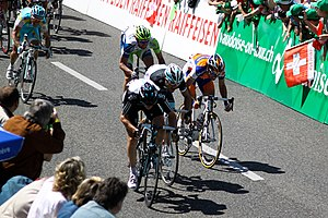 Ben Swift - Swift (leading) at the 2011 Tour de Romandie, where he won the fifth stage.