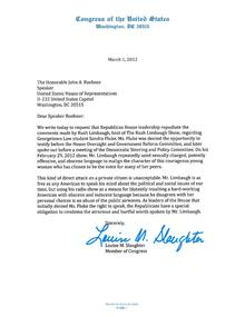 Louise slaughter wikipedia congressional letter on sandra fluke by louise slaughter expocarfo Gallery