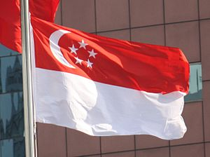 Flag of Singapore - The waving national flag