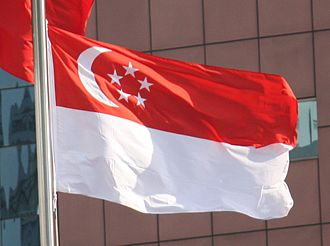 Flag of Singapore - The waving national flag