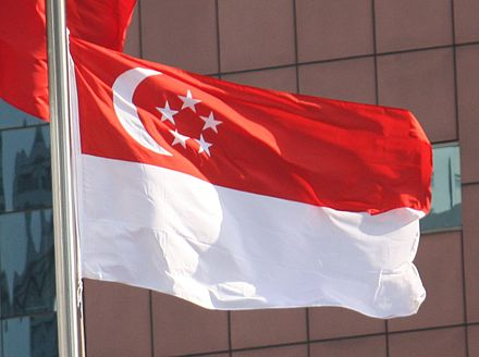 The waving national flag 2012 Flag of Singapore Photo.jpg